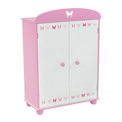 18 Inch Doll Furniture | Beautiful Pink and White Armoire Closet with Butterfly Detail... by Emily Rose Doll Clothes