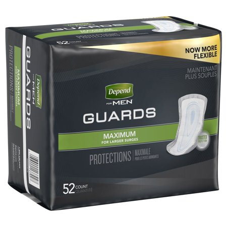Depend Incontinence Guards for Men, Maximum Absorbency, 52