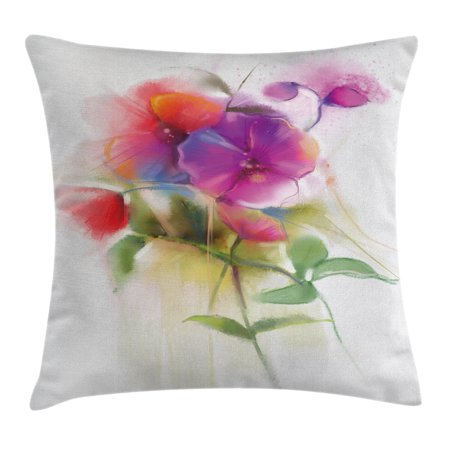 Watercolor Flower Home Decor Throw Pillow Cushion Cover, Blooming Orchid Spring Bouquet Romance Natural Beauty Fragrance, Decorative Square Accent Pillow Case, 16 X 16 Inches, Purple, by Ambesonne (Fragrance Pillow)
