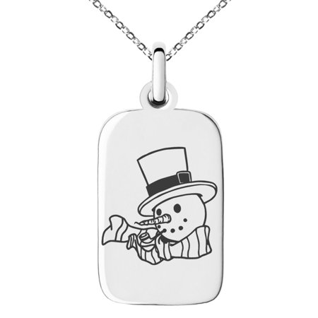 Stainless Steel Tophatter Snowman Engraved Small Rectangle Dog Tag Charm Pendant Necklace](Snowman Necklace)