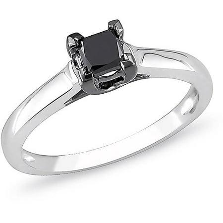 1 2 Carat T W  Princess Cut Black Diamond 10Kt White Gold Solitaire Engagement Ring