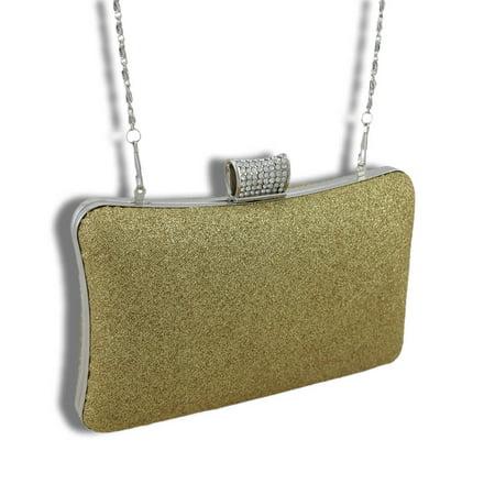 Zeckos - Fashion Clutch Purse with Rhinestone Clasp - Gold - Size Small - Gold Purse