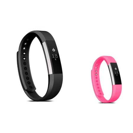 Zodaca Soft TPU Rubber Adjustable Wristbands Watch Band Strap For Fitbit Alta HR / Alta LARGE Size - Black + Hot Pink