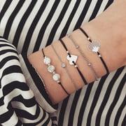 SEXY SPARKLES Stackable Bracelets Multilayer Boho Bracelet Sets Beads Metal Chain Rope Adjustabl Bracelets for Women Elastic Rope Charm Bangle Bracelet Best Women Teen Girls Gift