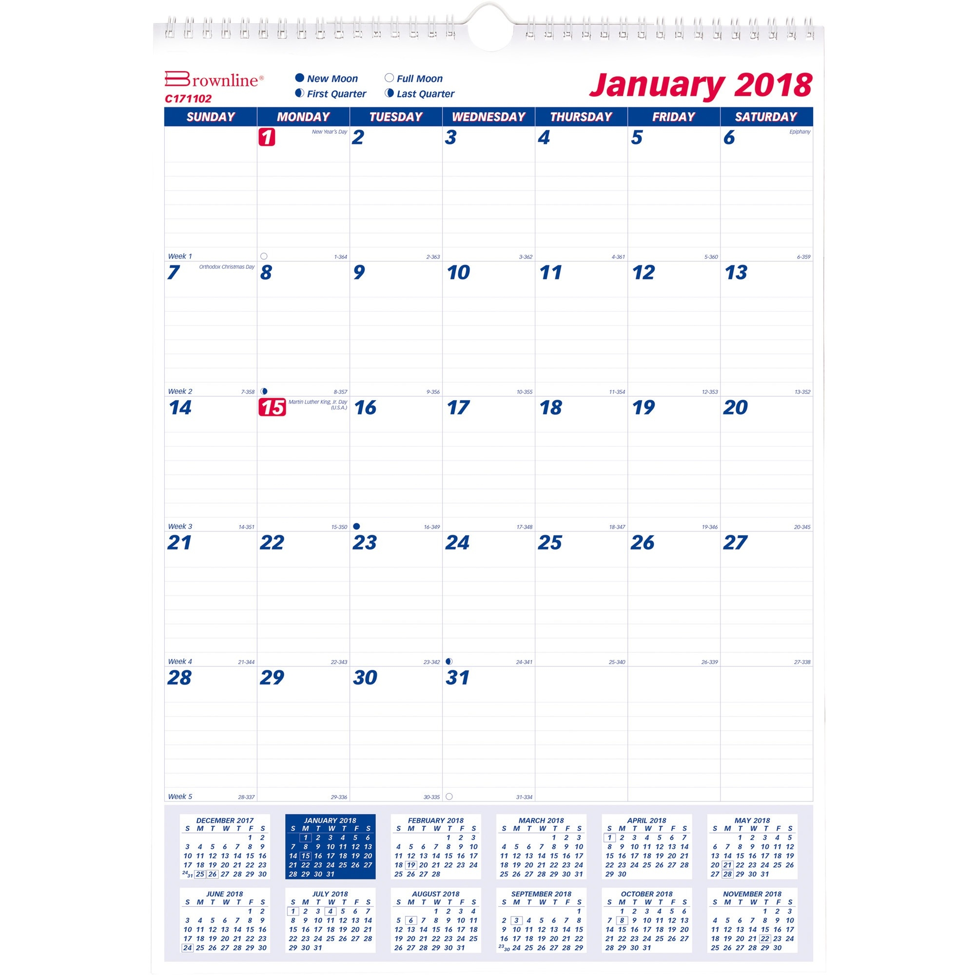 Rediform 1PPM Lined Block Monthly Wall Calendar (c171102) by Rediform