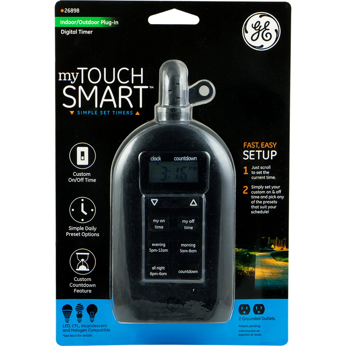 Setting Outdoor Light Timer: GE myTouchSmartâ?¢ Indoor/Outdoor Plug-In Digital Timer,Lighting
