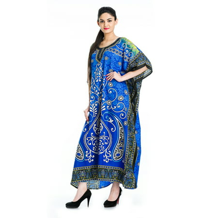 Royal Blue Kaftan Dresses for Women Paisley Plus Size Caftans Dress for Summer Women's Plus Size Kaftan Ladies Full Length Free Size Long Women Dress ()