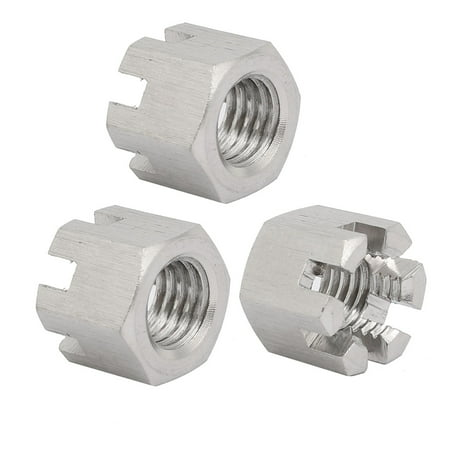3pcs M12x1.75mm 304 Stainless Steel Hex Hexagon Slotted Castle Nut Silver Tone - image 4 of 4