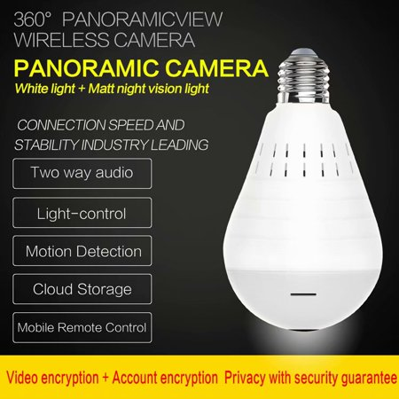 Light Bulb Camera Wifi HD 360 Fisheye Wireless Security Camera Home LED Light Cameras Motion Detection Night Vision Wireless Motion Light Camera