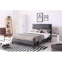 Hodedah Twin Leather Platform Bed, Black