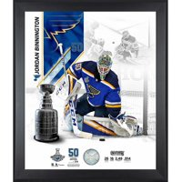"""Jordan Binnington St. Louis Blues 2019 Stanley Cup Champions Framed 20"""" x 24"""" Photograph with a Piece of Game-Used Net from the Stanley Cup Final - Limited Edition of 314 - Fanatics Authentic"""