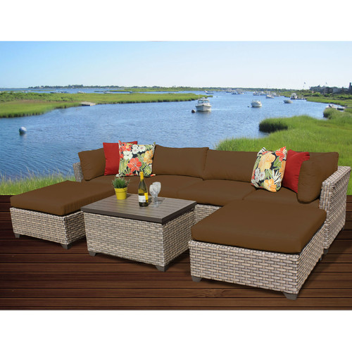 TK Classics Monterey 7 Piece Sectional Seating Group with Cushions