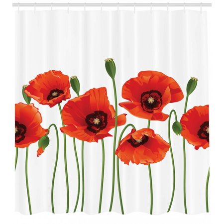 Floral Shower Curtain, Poppies of Spring Season Pastoral Flowers Botany Bouquet Field Nature Theme Art, Fabric Bathroom Set with Hooks, Red and Green, by Ambesonne - Spring Prom Themes