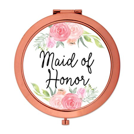 Andaz Press Compact Mirror Maid of Honor Wedding Gift, Rose Gold, Peach and Pink Roses, (Mirror Perch)