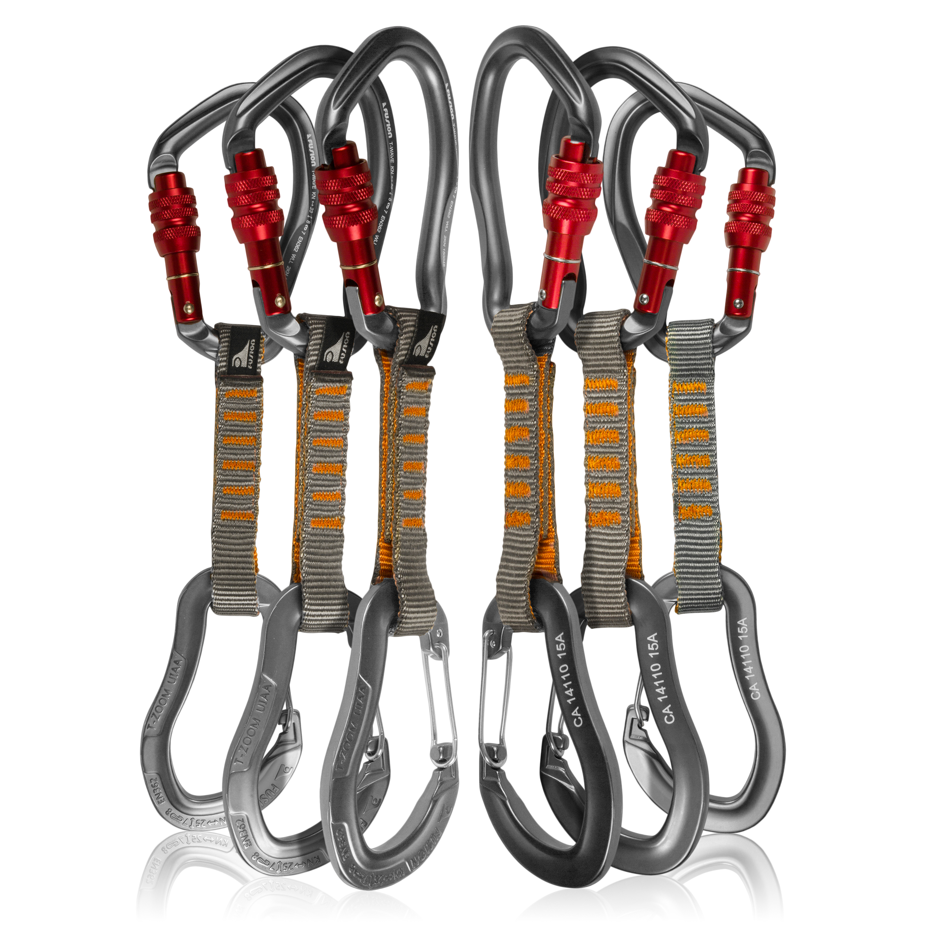 Fusion Climb 6-Pack 11cm Quickdraw Set with Techno Wave Burgundy Screw Gate Carabiner/Techno Zoom Gray Wire Gate Carabiner