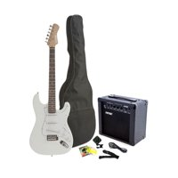Fever Full Size Electric Guitar with 20-Watts Amplifier, Gig Bag, Clip on Tuner, Cable, Strap and Strings Color White