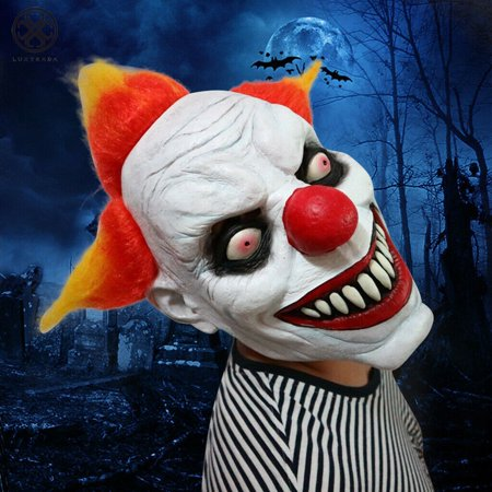 Scary Teen Costumes (Luxtrada Halloween Scary Clown Latex Mask Full Face Costume Evil Creepy Horror)