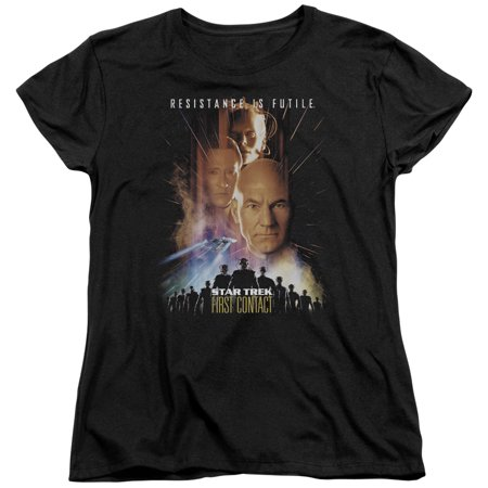 Star Trek/First Contact(Movie)   S/S Women's Tee   Black     - Star Trek Shirt Womens