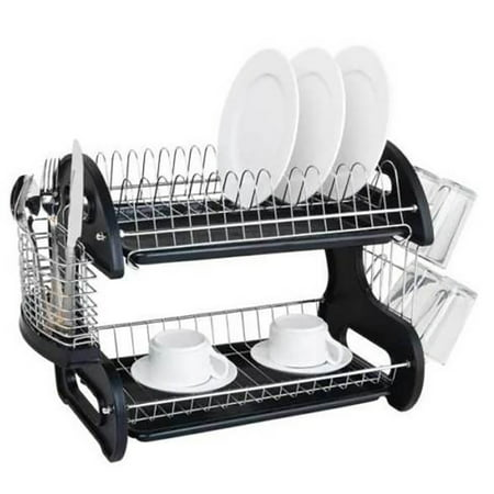 Hommoo Dish Drying Rack, 2 Tier Dish Drainer Drying Rack for Kitchen, Black Large Capacity Kitchen Storage Stainless Steel Holder Washing Organizer Dish Racks for