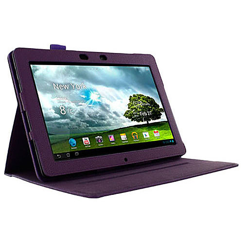Dual-View Vegan Leather Folio Case Cover for ASUS MeMO Pad Smart 10 - Purple