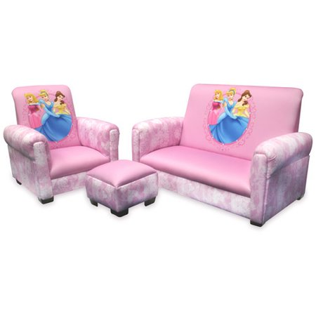 Disney Princess Hearts And Crowns Toddler Sofa Chair Ottoman Set