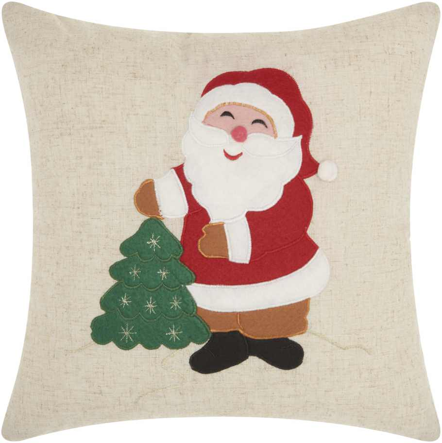 "Nourison Home For The Holiday Felt Santa Decorative Throw Pillow, 16"" x 16"", Natural"