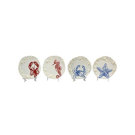 Young's 4 Piece Ceramic Nautical Plates Set, 8