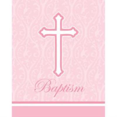 Faith Pink Baptism Invitations , 4PK