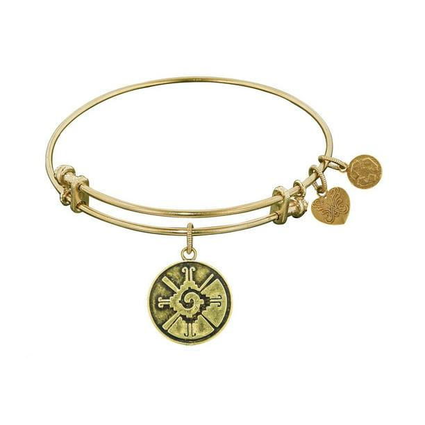 7.25 Jewelry Affairs Smooth Finish Brass Hunab Ku Angelica Bangle Bracelet