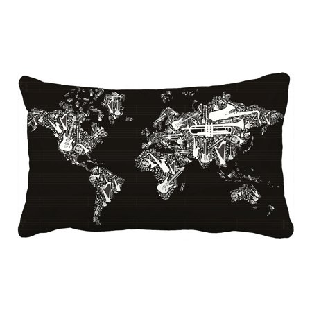 PHFZK Globe Pillow Case, World Map Silhouette Made with Musical Instruments Black and White Pillowcase Throw Pillow Cushion Cover Two Sides Size 20x30 - Black And White Musical