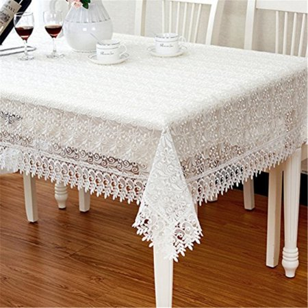 TaiXiuHome Modern Minimalist European Pastoral Style Translucent Lace Embroidery Tablecloth Multiple Uses Top Decoration White R ()