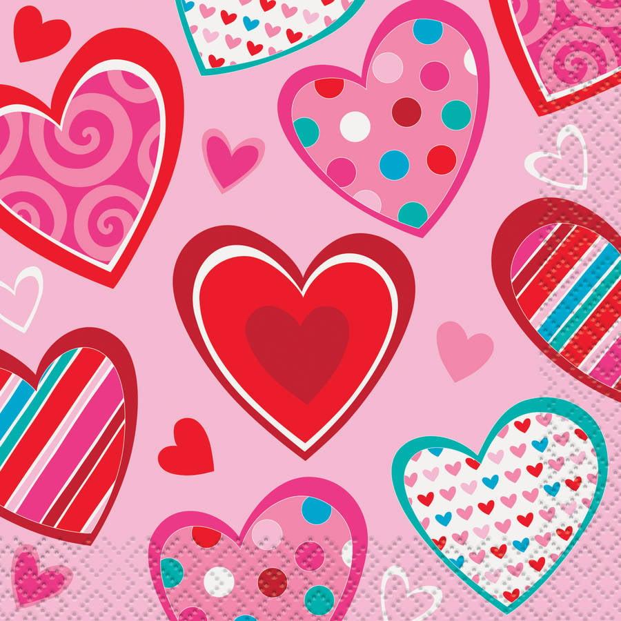 Bright Hearts Valentine's Day Beverage Napkins, 16ct by Unique Industries