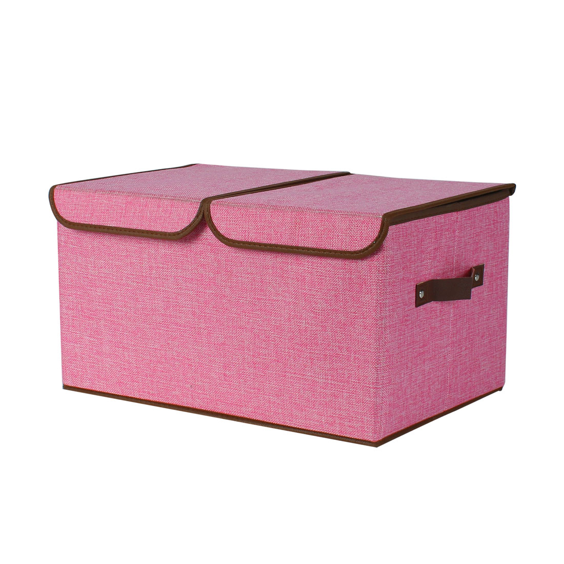 Delicieux Fabric Storage Bin Cube Laundry Basket With Handle For Home Organizer Pink