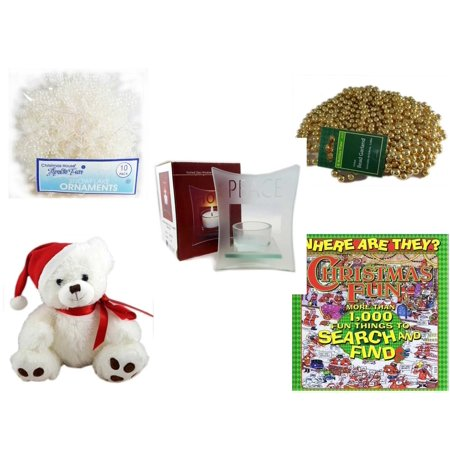 - Christmas Fun Gift Bundle [5 Piece] -  Arctic Fun Snowflake Ornaments 10 Pack - Gold Bead Garland Strand 18' Feet - Etched Glass
