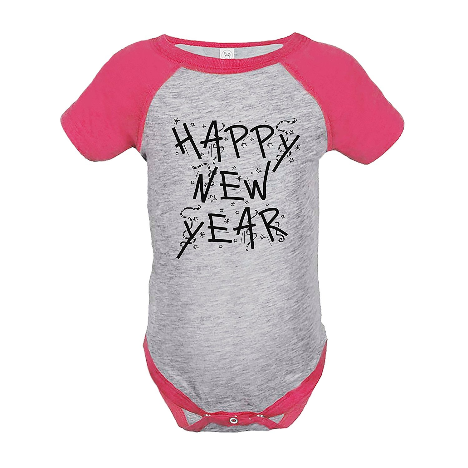 7 ate 9 Apparel Kids Happy New Year's Eve Pink Raglan Onepiece - 6 Months