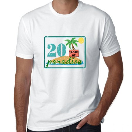 20 Years Of Paradise Wedding Anniversary Beach Mens T Shirt
