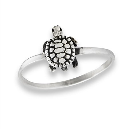 925 Sterling Silver Shell - Oxidized Sea Turtle Detailed Simulated Abalone Ring New .925 Sterling Silver Band Size 8