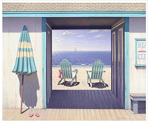 Beach Club by Daniel Pollera 28x22 Coastal Art Print Poster Adirondack Chairs Beach Ocean Scene by Bruce Teleky