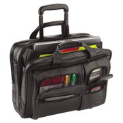 United States Luggage D9574 Classic Leather Rolling Case - Black, 15.6 in.