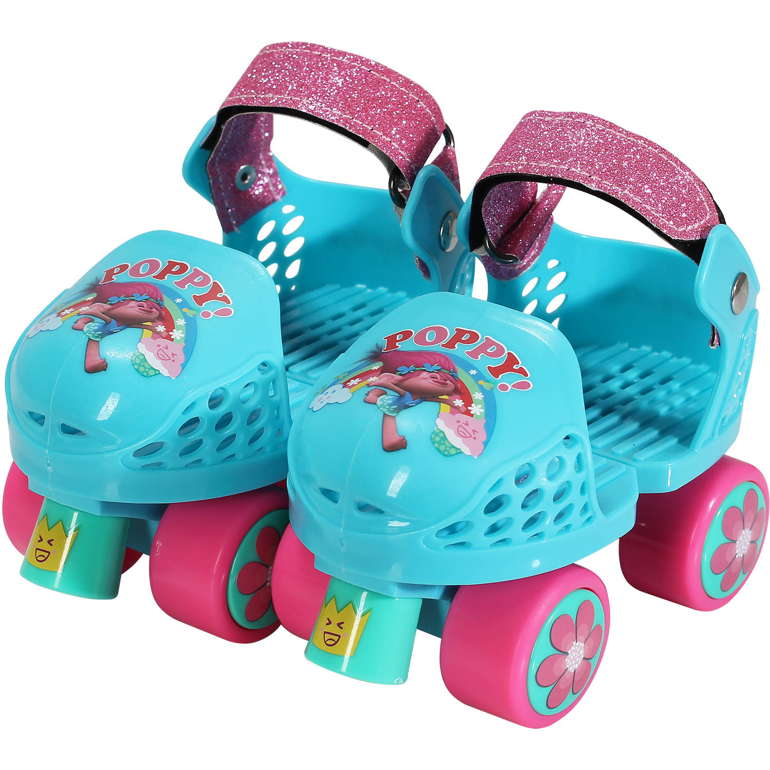 Playwheels Trolls Kids Roller Skate, Junior Size 6-12 with Kneepads