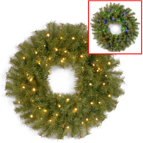 "National Tree 24"" Norwood Fir Wreath with 50 Battery Operated Dual LED Lights"