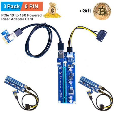 3Pack 6 Pin Pcie 16X To 1X Powered Riser Adapter Card W  60Cm Usb 3 0 Extension Cable   6 Pin Pci E To Sata Power Cable  Gpu Adapter  Ethereum Mining Eth