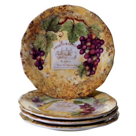 Certified International  Gilded Wine Ceramic 10.75-inch Dinner Plates (Set of 4) ()