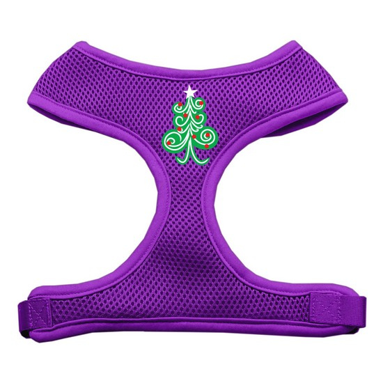 Swirly Christmas Tree Screen Print Soft Mesh Harness Purple Small