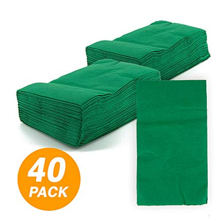 SparkSettings Big Party Pack Tableware 2 Ply Guest Towels Hand Napkins Paper Soft and Absorbent Decorative Hand Towels for Kitchen and Parties 40 Pieces Festive Green (Decorative Napkins)