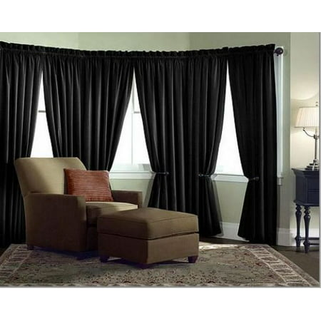 Velvet Curtain Panel Drape 5W x 9H Black Home Theater Energy Efficient Curtain""