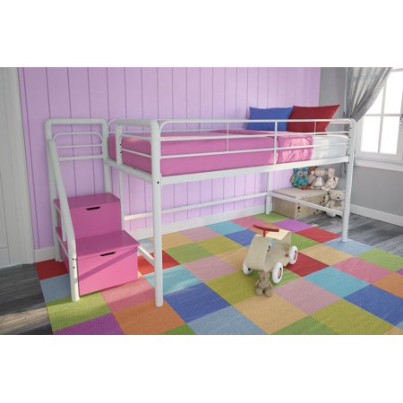 Girls Bakeshop Twin Loft Bed With Storage Steps Pink