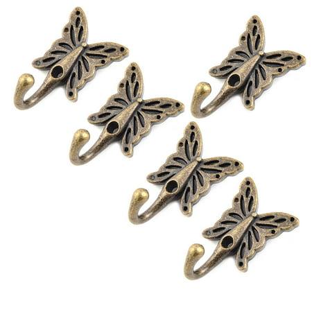 Home Metal Butterfly Vintage Style Handbag Coat Hanger Hook Bronze Tone 5 Pcs - image 4 de 4