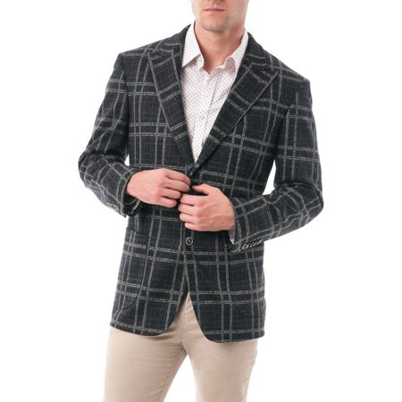 Big Men's Black and Grey Bold Plaid Wool Blend Peak Lapel Blazer