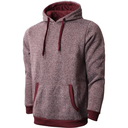 Men's Active Lightweight Marled Brushed Fleece Pullover Athletic Hoodie Red Brushed Fleece